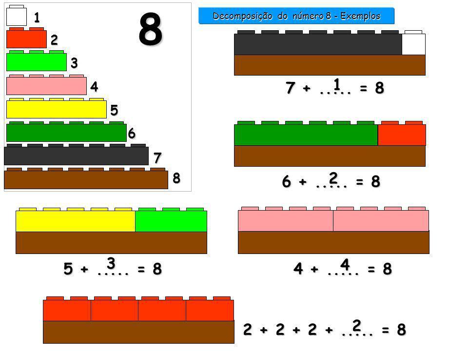 1 2 3 4 5 6 7 8 8 7 +..... = 8 1 Decomposição do número 8 - Exemplos 6 +..... = 8 2 4 +..... = 8 4 2 + 2 + 2 +..... = 8 5 +..... = 8 3 0000 2222 1111