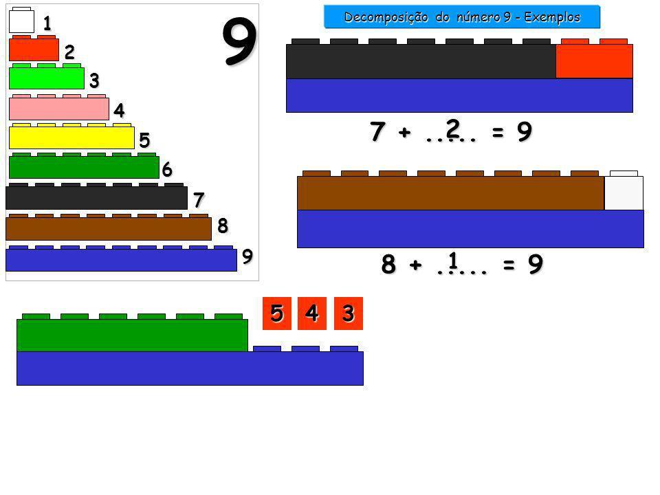 1 2 3 4 5 6 7 9 8 9 7 +..... = 9 2 Decomposição do número 9 - Exemplos 8 +..... = 9 3333 1111 2222