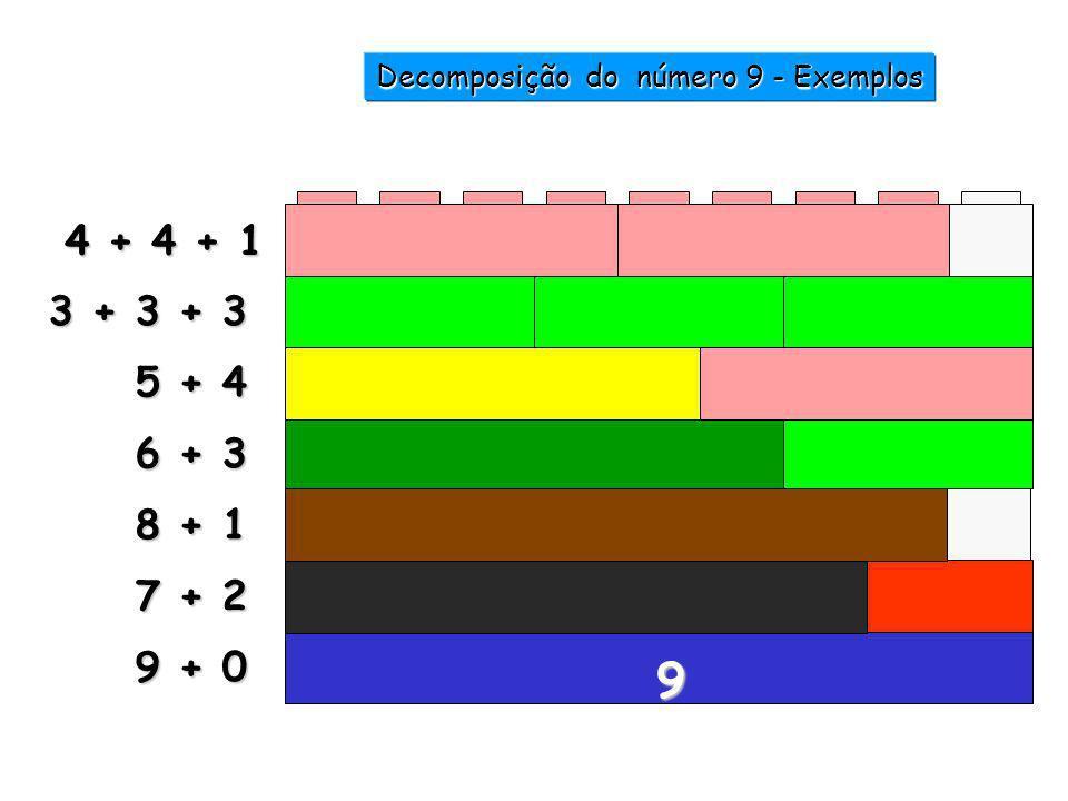 7 +..... = 9 2 8 +..... = 9 1 6 +..... = 9 3 5 +..... = 9 4 Decomposição do número 9 - Exemplos 1 2 3 4 5 6 7 9 8 9