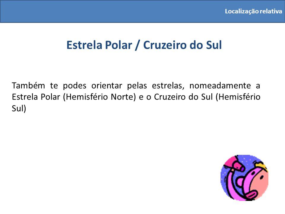Estrela Polar / Cruzeiro do Sul Também te podes orientar pelas estrelas, nomeadamente a Estrela Polar (Hemisfério Norte) e o Cruzeiro do Sul (Hemisfér