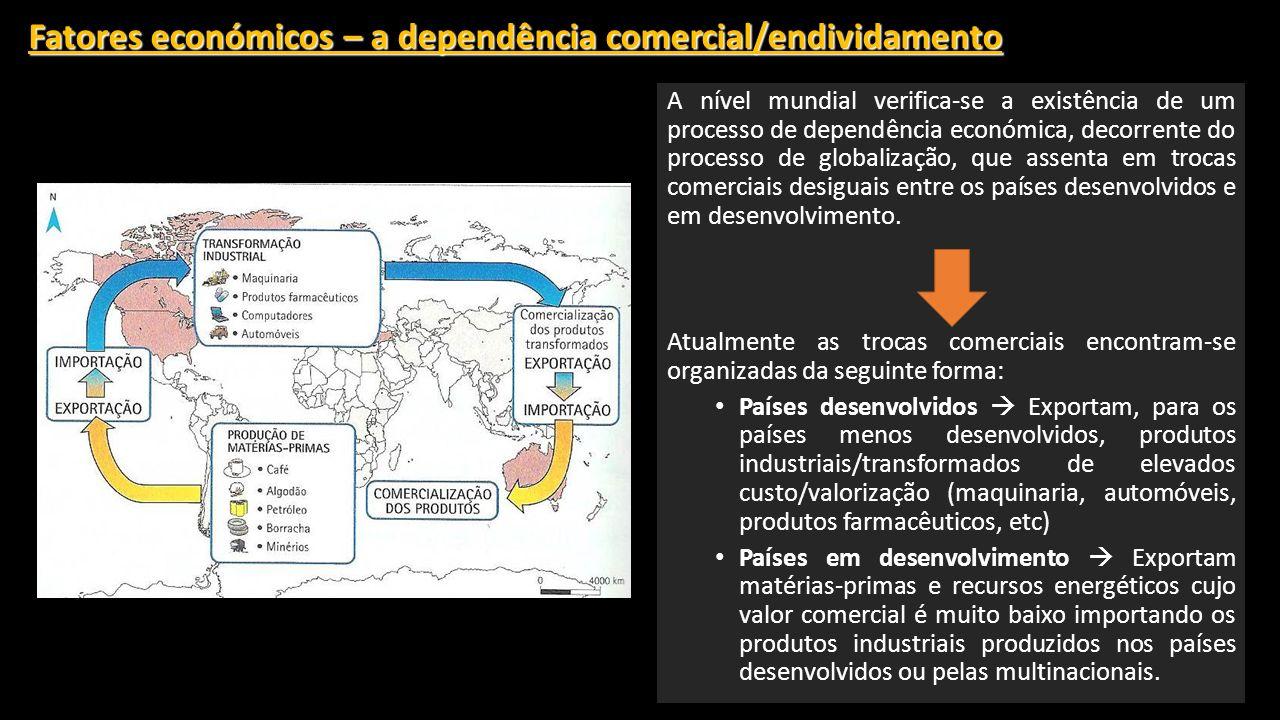 Fatores económicos – a dependência comercial/endividamento A nível mundial verifica-se a existência de um processo de dependência económica, decorrente do processo de globalização, que assenta em trocas comerciais desiguais entre os países desenvolvidos e em desenvolvimento.