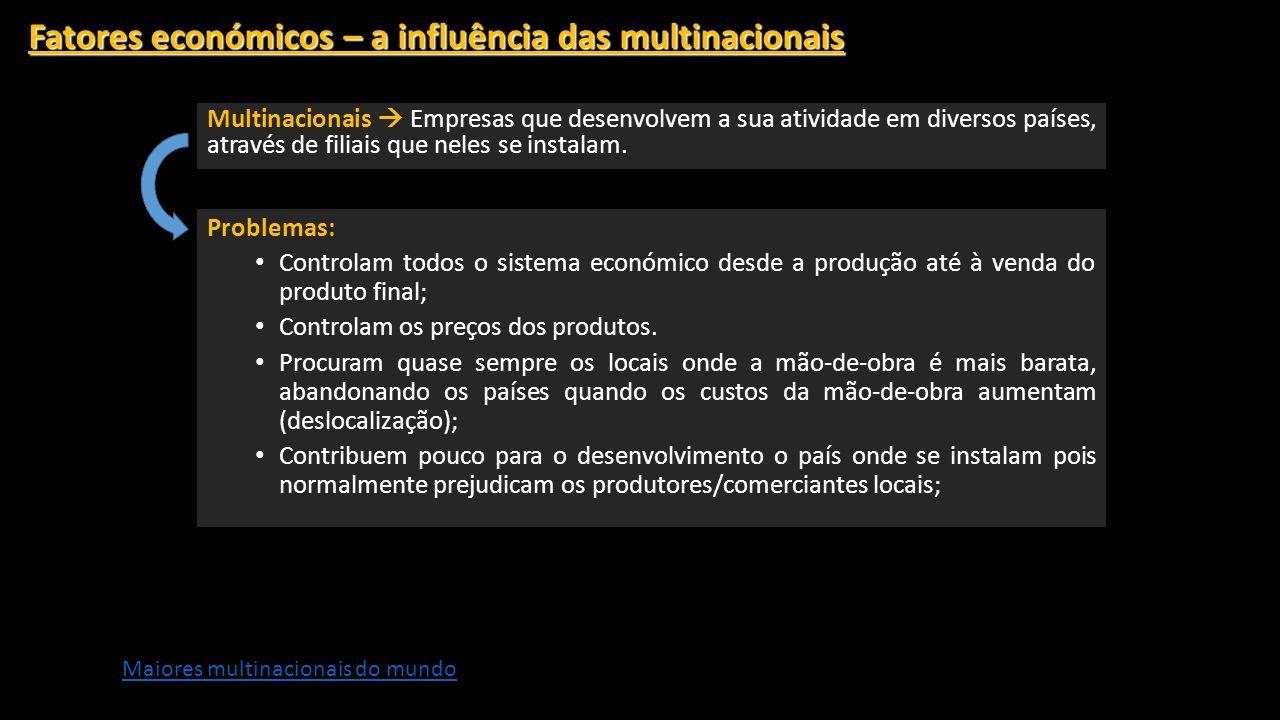 Fatores económicos – a influência das multinacionais Multinacionais Empresas que desenvolvem a sua atividade em diversos países, através de filiais que neles se instalam.