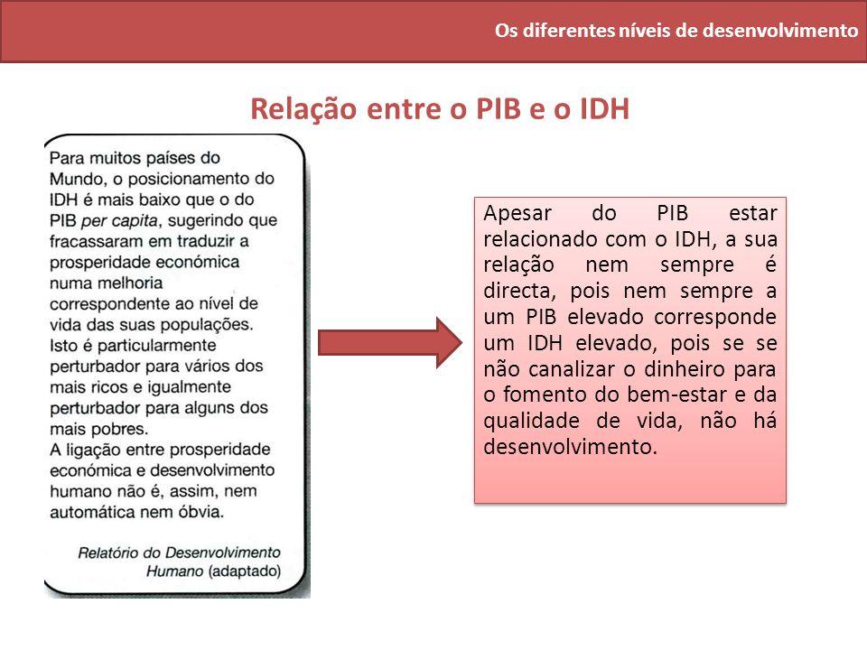 Os diferentes níveis de desenvolvimento Relação entre o PIB e o IDH Apesar do PIB estar relacionado com o IDH, a sua relação nem sempre é directa, poi