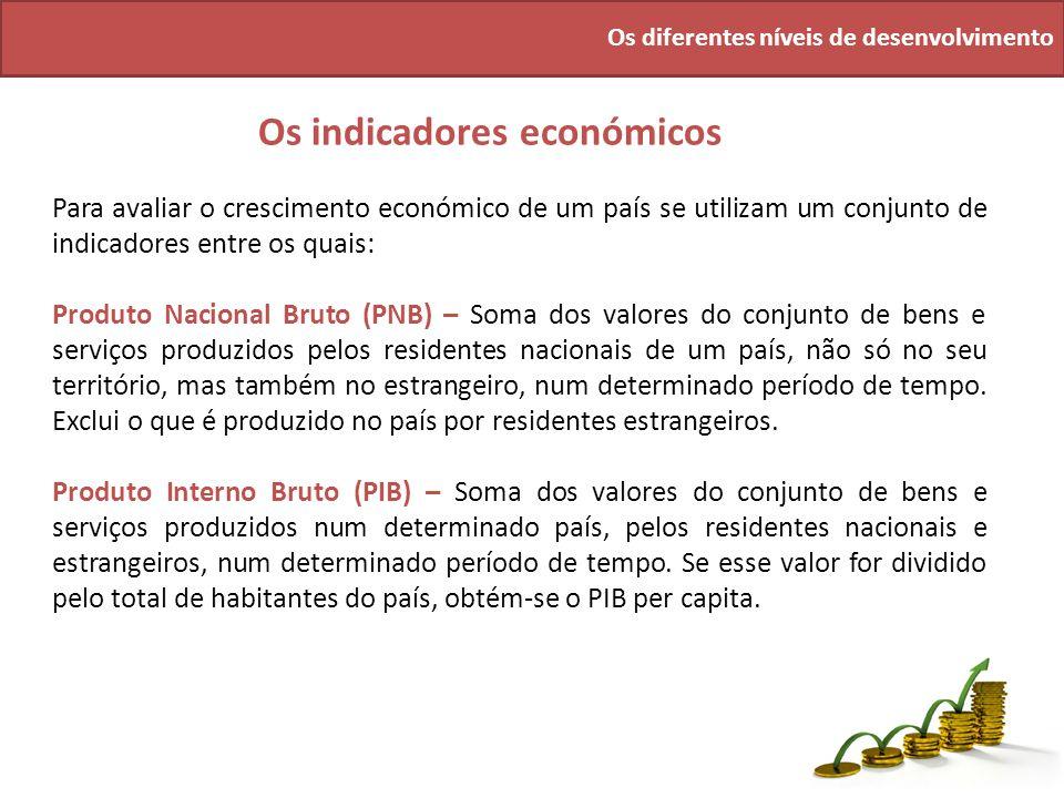 Os diferentes níveis de desenvolvimento Os indicadores económicos Para avaliar o crescimento económico de um país se utilizam um conjunto de indicador