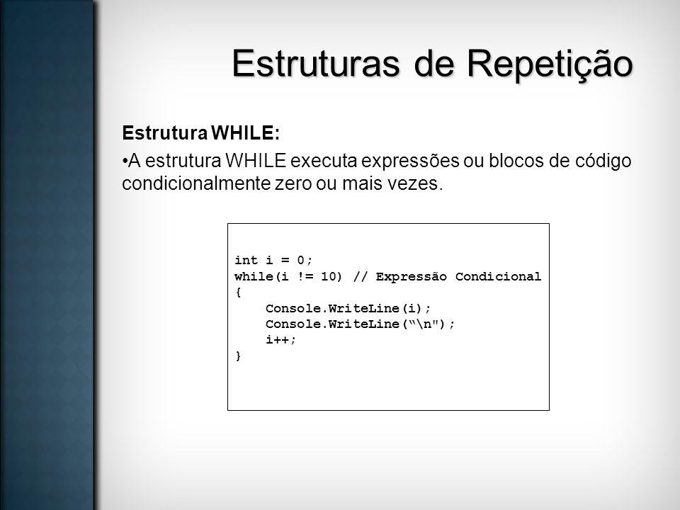 Estruturas de Repetição Estrutura WHILE: A estrutura WHILE executa expressões ou blocos de código condicionalmente zero ou mais vezes. int i = 0; whil