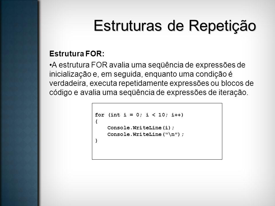 Estruturas de Repetição Estrutura FOR: A estrutura FOR avalia uma seqüência de expressões de inicialização e, em seguida, enquanto uma condição é verd