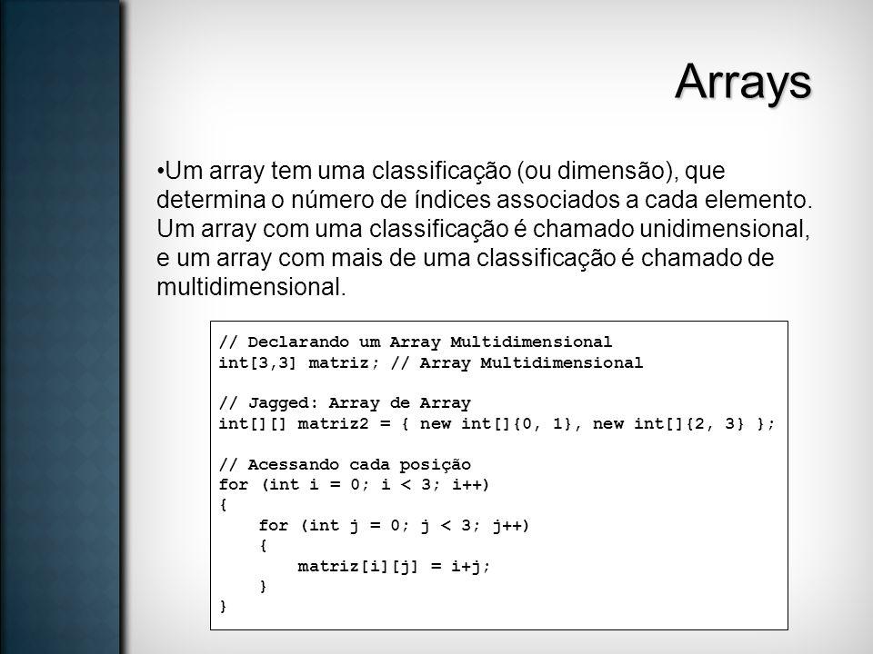 Arrays Um array tem uma classificação (ou dimensão), que determina o número de índices associados a cada elemento. Um array com uma classificação é ch