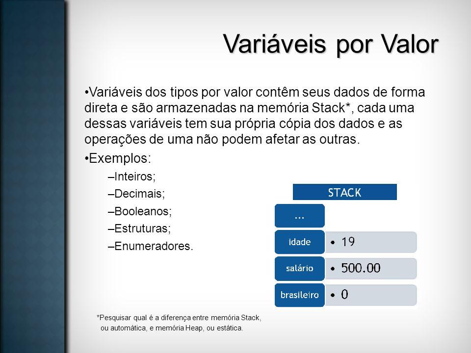 Variáveis por Valor Variáveis dos tipos por valor contêm seus dados de forma direta e são armazenadas na memória Stack*, cada uma dessas variáveis tem