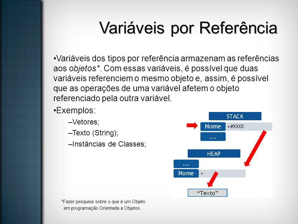 Variáveis por Referência Variáveis dos tipos por referência armazenam as referências aos objetos*. Com essas variáveis, é possível que duas variáveis