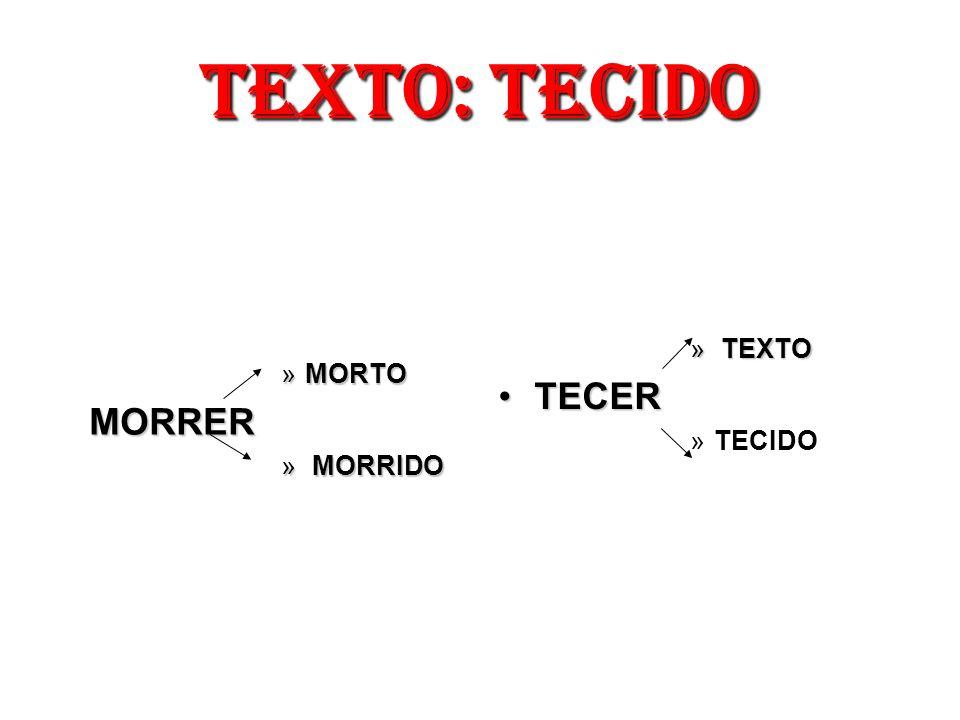 TEXTO: TECIDO »MORTO MORRER » MORRIDO » TEXTO TECERTECER »TECIDO