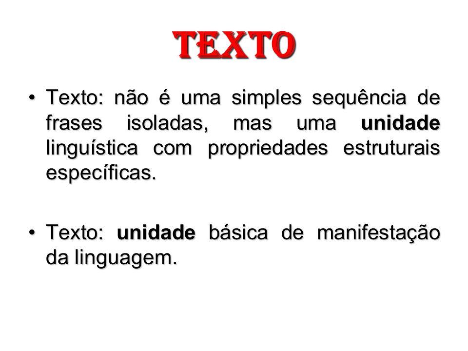 TEXTO Texto: não é uma simples sequência de frases isoladas, mas uma unidade linguística com propriedades estruturais específicas.Texto: não é uma sim