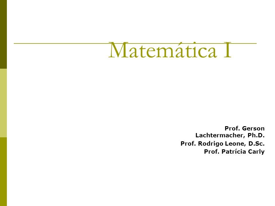 Matemática I Prof. Gerson Lachtermacher, Ph.D. Prof. Rodrigo Leone, D.Sc. Prof. Patrícia Carly