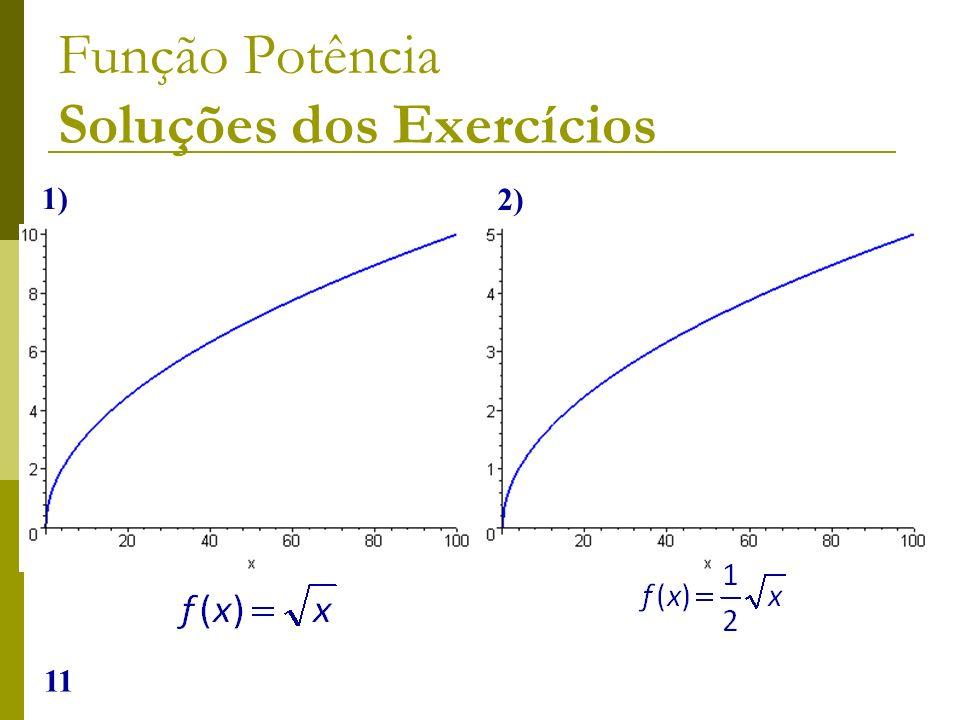 11 Função Potência Soluções dos Exercícios 1) 2)