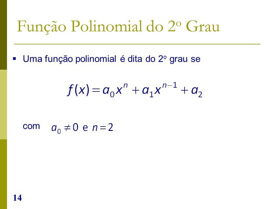 14 Uma função polinomial é dita do 2 o grau se com Função Polinomial do 2 o Grau