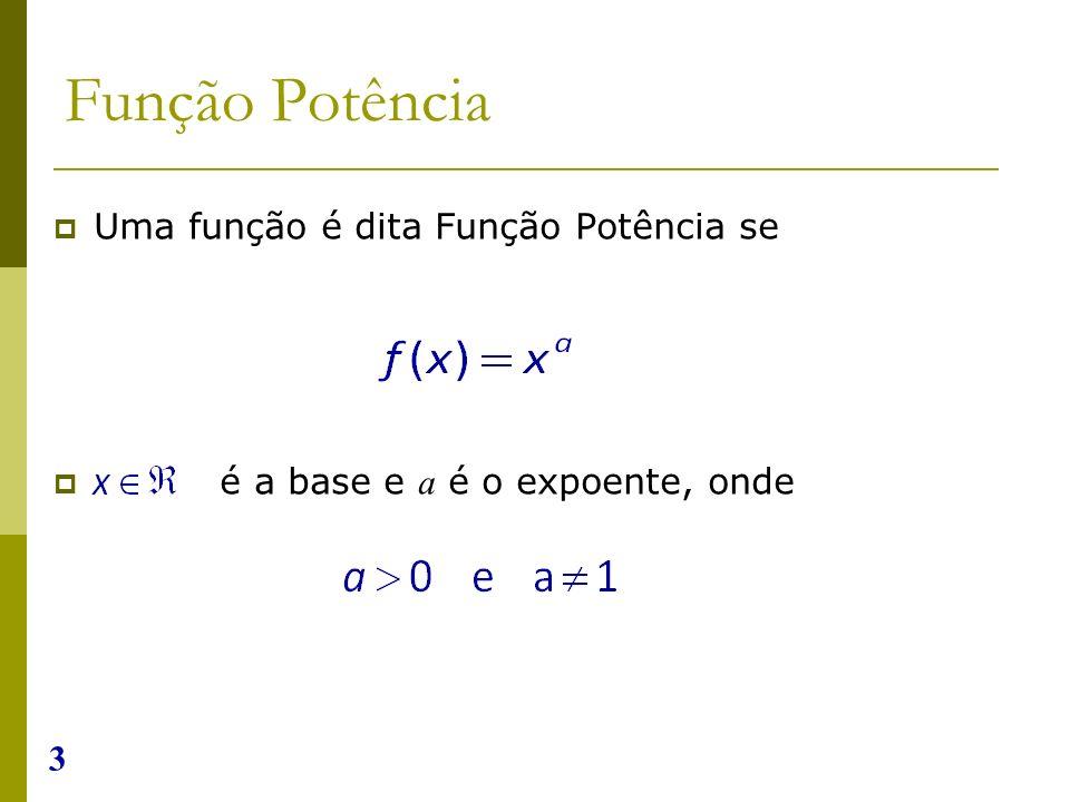 3 Função Potência Uma função é dita Função Potência se é a base e a é o expoente, onde
