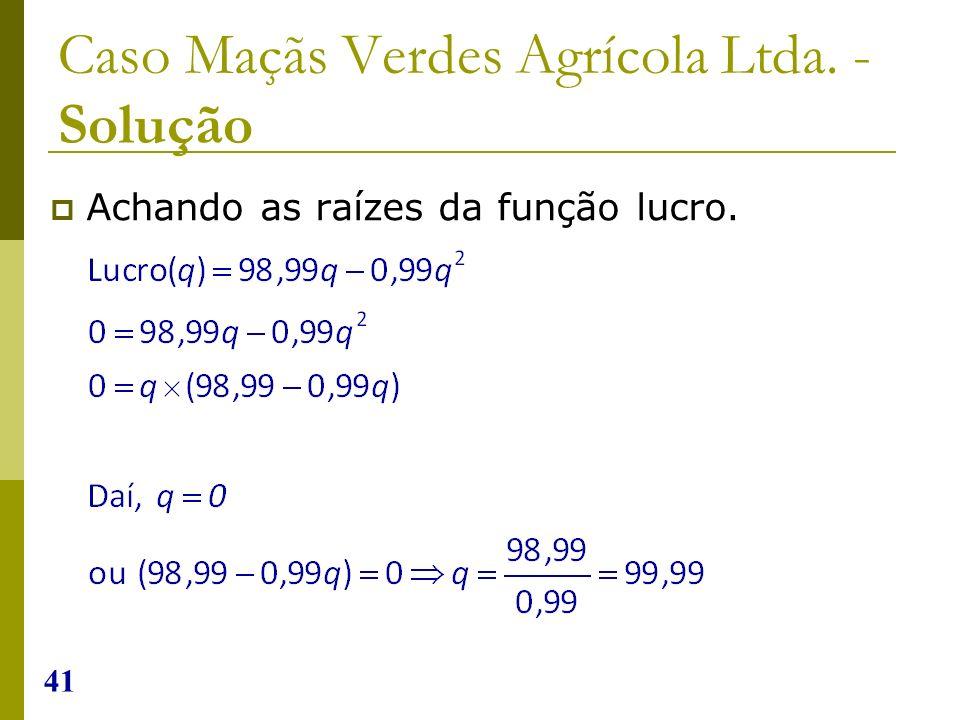 41 Caso Maçãs Verdes Agrícola Ltda. - Solução Achando as raízes da função lucro.