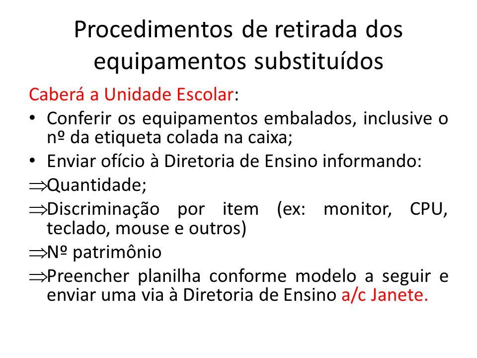 Procedimentos de retirada dos equipamentos substituídos Caberá a Unidade Escolar: Conferir os equipamentos embalados, inclusive o nº da etiqueta colad