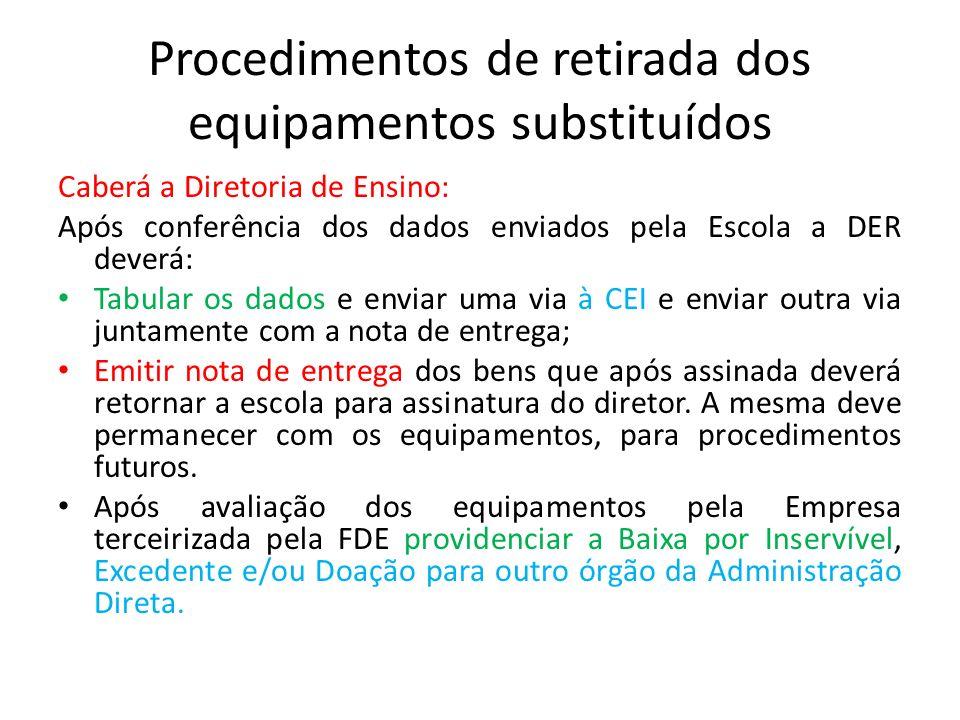 Procedimentos de retirada dos equipamentos substituídos Caberá a Diretoria de Ensino: Após conferência dos dados enviados pela Escola a DER deverá: Ta
