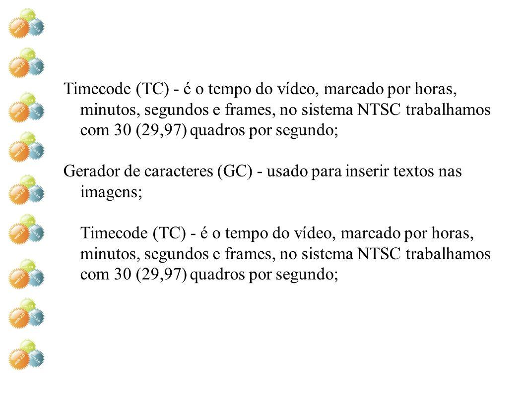 Timecode (TC) - é o tempo do vídeo, marcado por horas, minutos, segundos e frames, no sistema NTSC trabalhamos com 30 (29,97) quadros por segundo; Ger