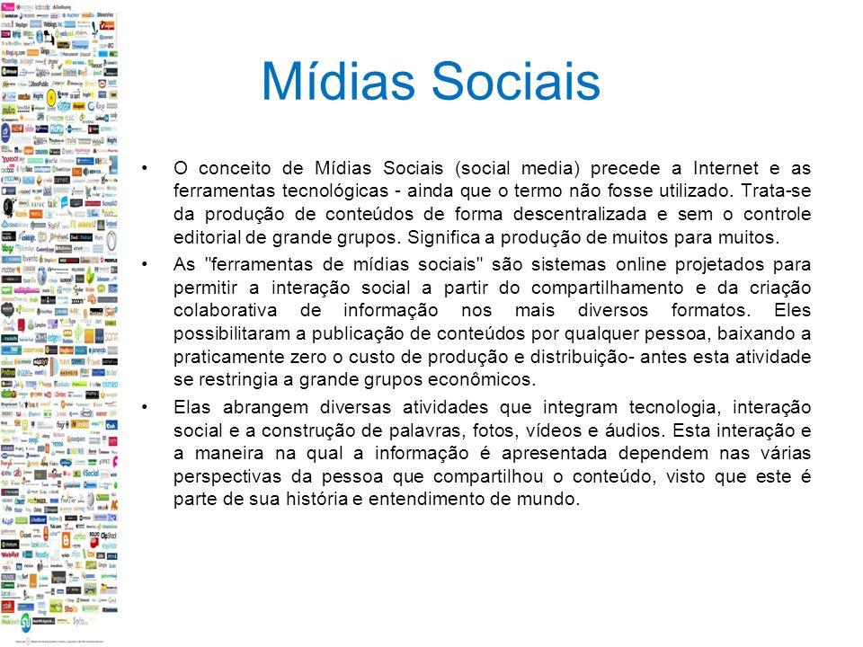 Mídias Sociais O conceito de Mídias Sociais (social media) precede a Internet e as ferramentas tecnológicas - ainda que o termo não fosse utilizado.