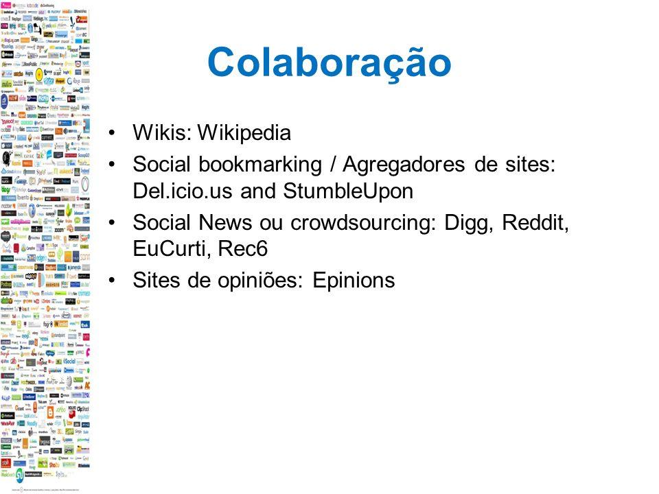 Colaboração Wikis: Wikipedia Social bookmarking / Agregadores de sites: Del.icio.us and StumbleUpon Social News ou crowdsourcing: Digg, Reddit, EuCurti, Rec6 Sites de opiniões: Epinions