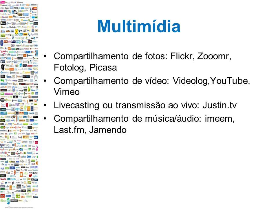 Multimídia Compartilhamento de fotos: Flickr, Zooomr, Fotolog, Picasa Compartilhamento de vídeo: Videolog,YouTube, Vimeo Livecasting ou transmissão ao vivo: Justin.tv Compartilhamento de música/áudio: imeem, Last.fm, Jamendo