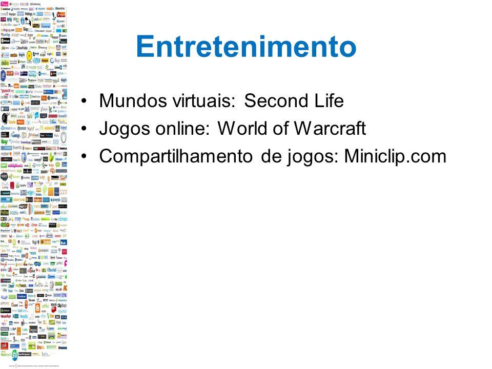Entretenimento Mundos virtuais: Second Life Jogos online: World of Warcraft Compartilhamento de jogos: Miniclip.com