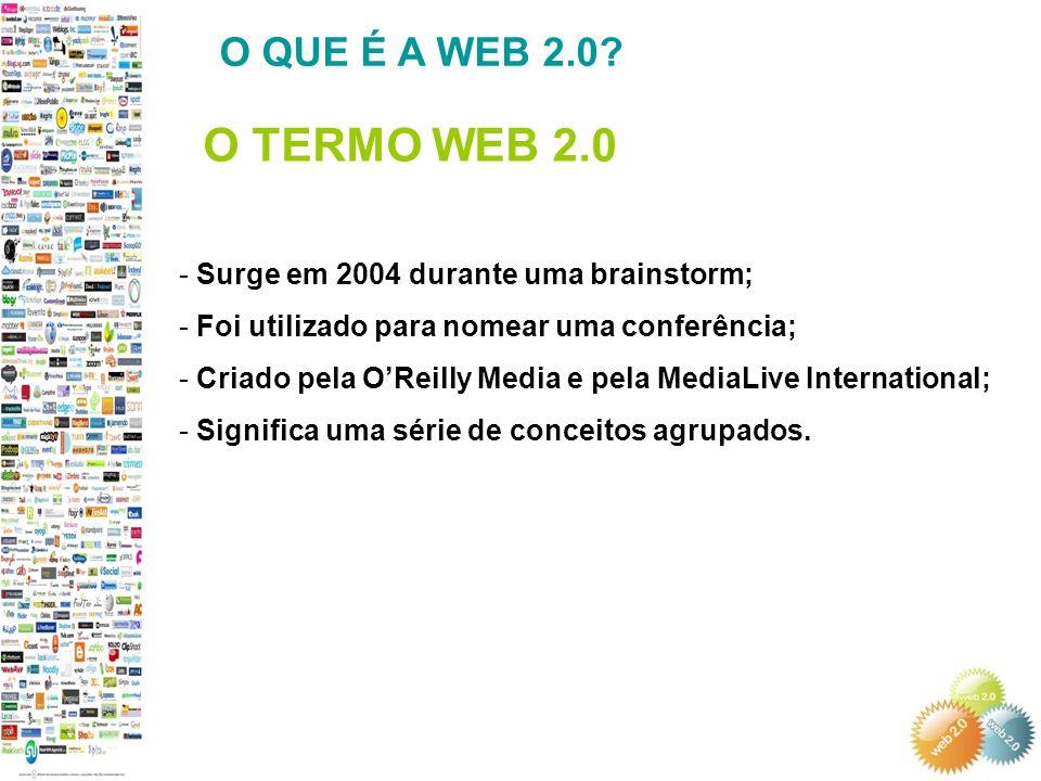 - Surge em 2004 durante uma brainstorm; - Foi utilizado para nomear uma conferência; - Criado pela OReilly Media e pela MediaLive International; - Significa uma série de conceitos agrupados.