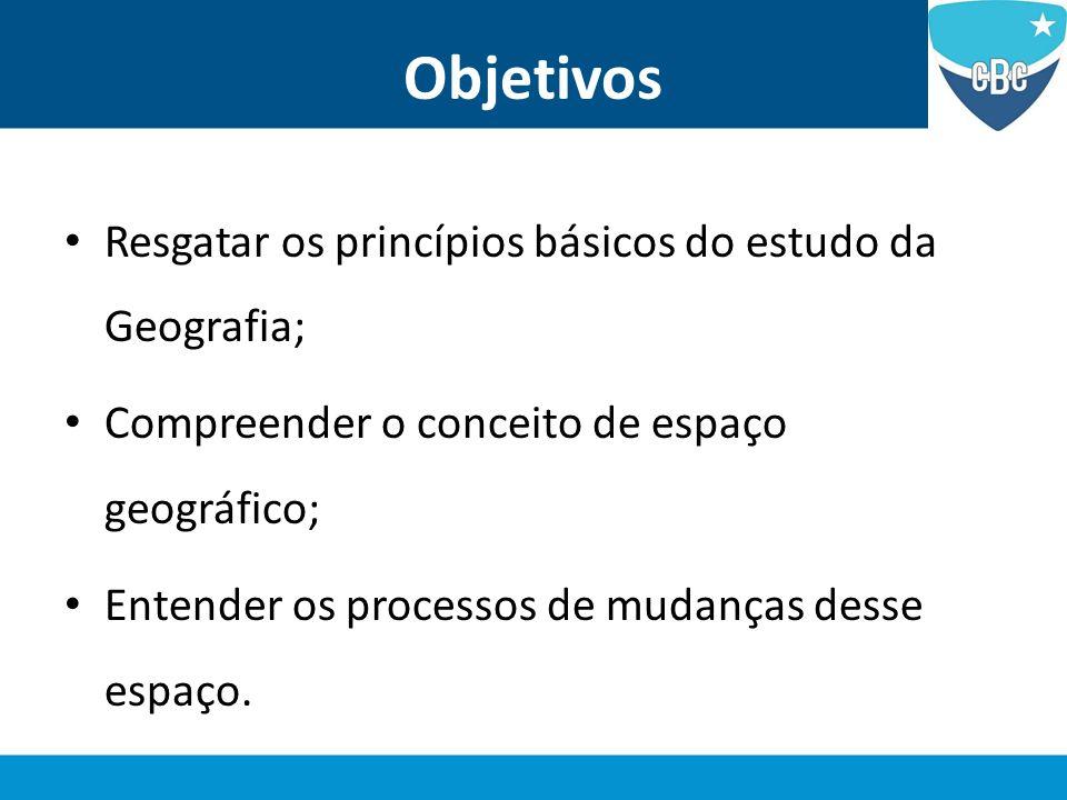 Objetivos Resgatar os princípios básicos do estudo da Geografia; Compreender o conceito de espaço geográfico; Entender os processos de mudanças desse