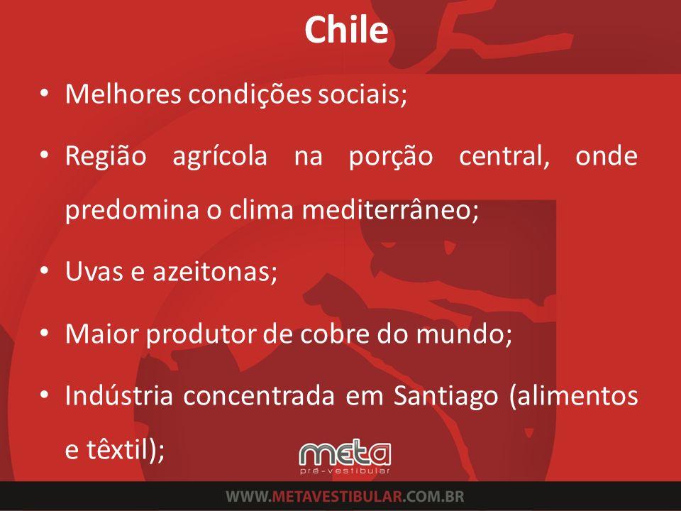 Chile Melhores condições sociais; Região agrícola na porção central, onde predomina o clima mediterrâneo; Uvas e azeitonas; Maior produtor de cobre do