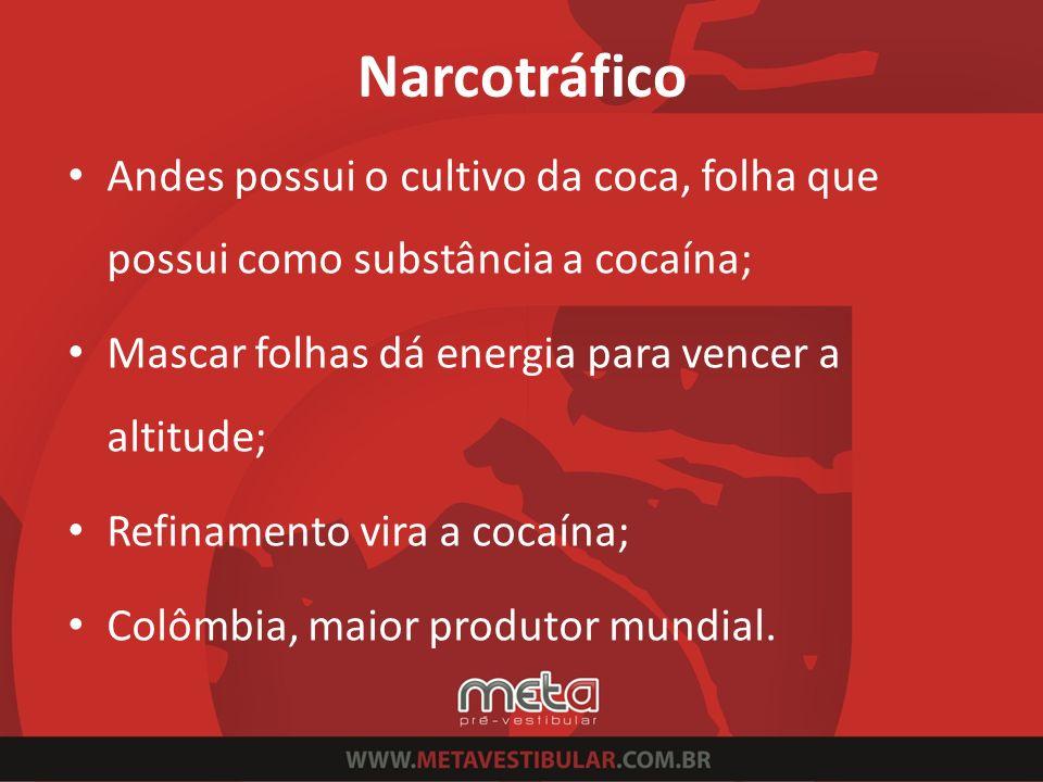 Narcotráfico Andes possui o cultivo da coca, folha que possui como substância a cocaína; Mascar folhas dá energia para vencer a altitude; Refinamento