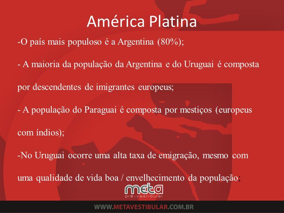 -O país mais populoso é a Argentina (80%); - A maioria da população da Argentina e do Uruguai é composta por descendentes de imigrantes europeus; - A