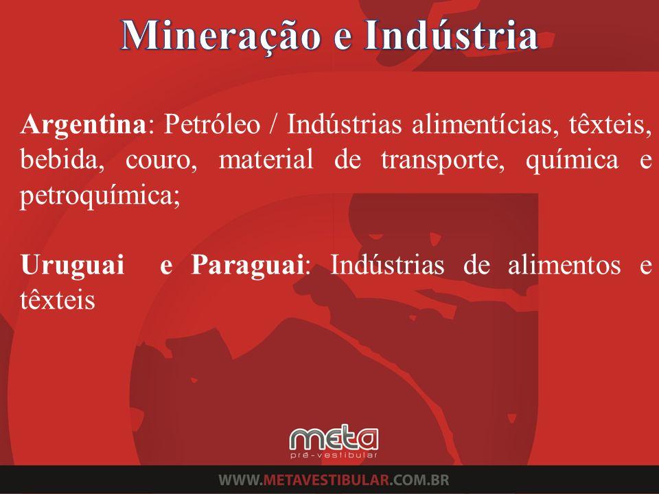 Argentina: Petróleo / Indústrias alimentícias, têxteis, bebida, couro, material de transporte, química e petroquímica; Uruguai e Paraguai: Indústrias