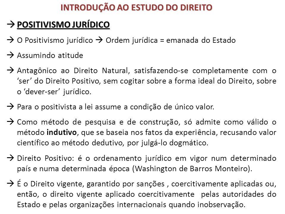 POSITIVISMO JURÍDICO POSITIVISMO JURÍDICO O Positivismo jurídico Ordem jurídica = emanada do Estado Assumindo atitude Antagônico ao Direito Natural, s