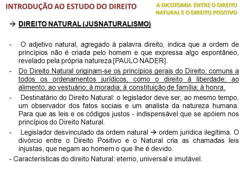 DIREITO NATURAL (JUSNATURALISMO) DIREITO NATURAL (JUSNATURALISMO) - O adjetivo natural, agregado à palavra direito, indica que a ordem de princípios n