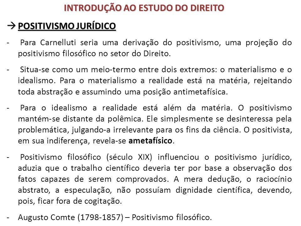 POSITIVISMO JURÍDICO POSITIVISMO JURÍDICO - Para Carnelluti seria uma derivação do positivismo, uma projeção do positivismo filosófico no setor do Dir