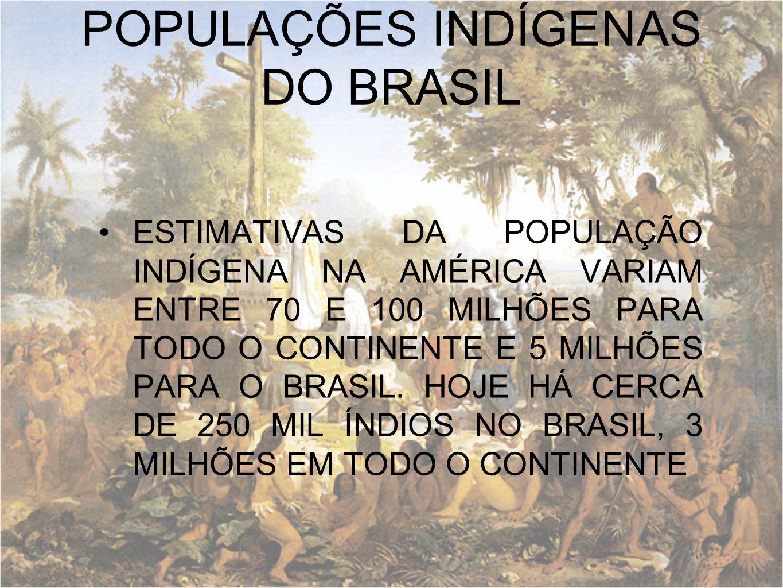 ESTIMATIVAS DA POPULAÇÃO INDÍGENA NA AMÉRICA VARIAM ENTRE 70 E 100 MILHÕES PARA TODO O CONTINENTE E 5 MILHÕES PARA O BRASIL. HOJE HÁ CERCA DE 250 MIL
