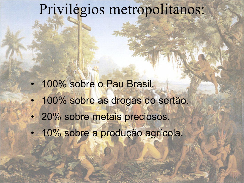 Privilégios metropolitanos: 100% sobre o Pau Brasil. 100% sobre as drogas do sertão. 20% sobre metais preciosos. 10% sobre a produção agrícola.