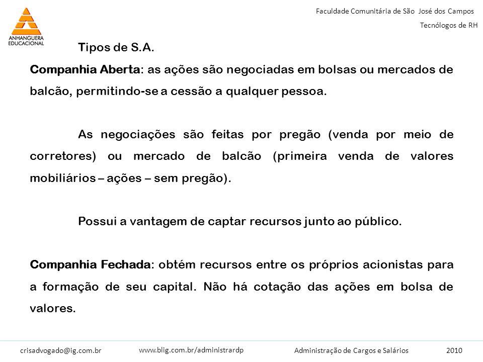 crisadvogado@ig.com.br2010 Faculdade Comunitária de São José dos Campos Tecnólogos de RH Administração de Cargos e Salários www.blig.com.br/administrardp Tipos de S.A.