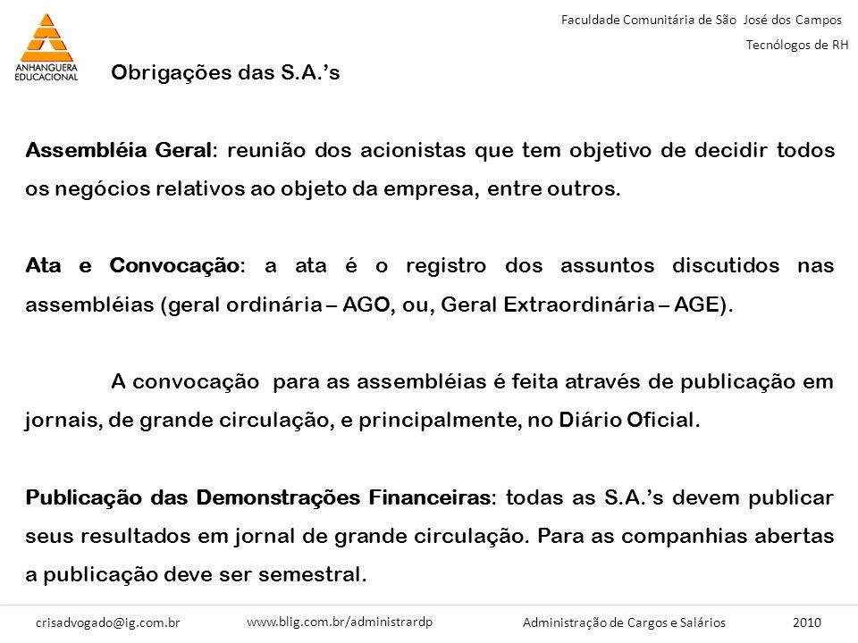 crisadvogado@ig.com.br2010 Faculdade Comunitária de São José dos Campos Tecnólogos de RH Administração de Cargos e Salários www.blig.com.br/administrardp Ações: documentos (títulos) que garantem a propriedade de uma parte do capital social da sociedade.
