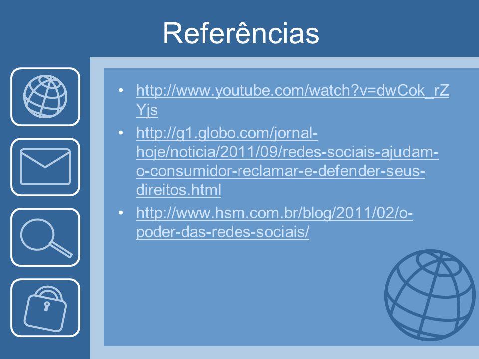 Referências http://www.youtube.com/watch?v=dwCok_rZ Yjshttp://www.youtube.com/watch?v=dwCok_rZ Yjs http://g1.globo.com/jornal- hoje/noticia/2011/09/redes-sociais-ajudam- o-consumidor-reclamar-e-defender-seus- direitos.htmlhttp://g1.globo.com/jornal- hoje/noticia/2011/09/redes-sociais-ajudam- o-consumidor-reclamar-e-defender-seus- direitos.html http://www.hsm.com.br/blog/2011/02/o- poder-das-redes-sociais/http://www.hsm.com.br/blog/2011/02/o- poder-das-redes-sociais/