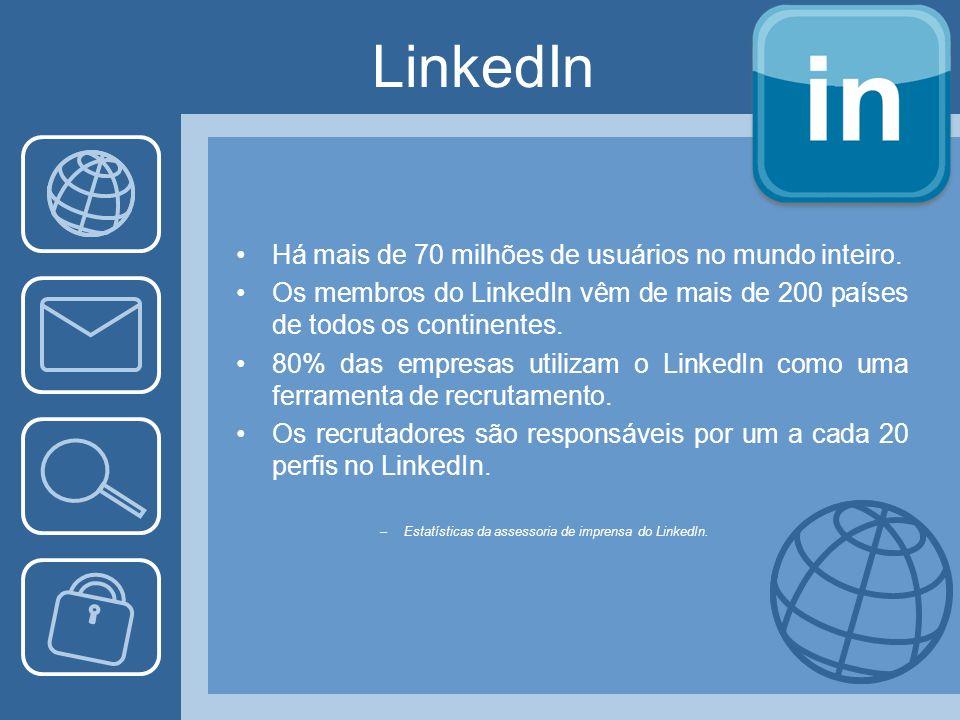 LinkedIn Há mais de 70 milhões de usuários no mundo inteiro.