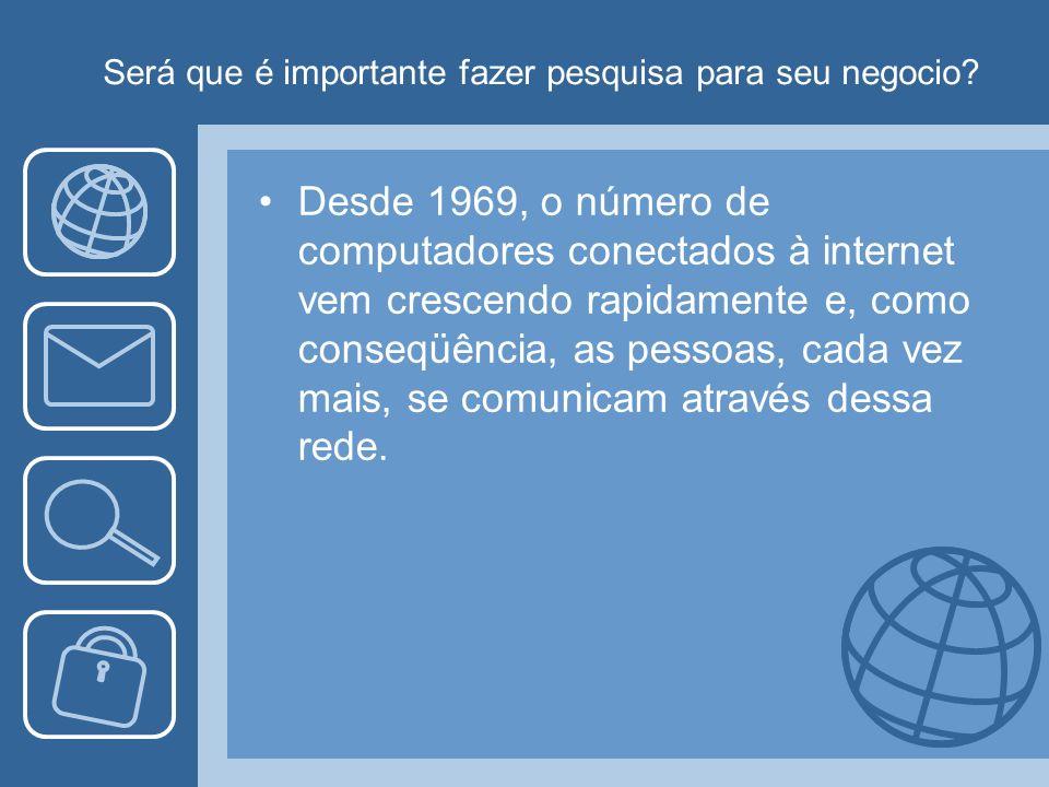 Será que é importante fazer pesquisa para seu negocio? Desde 1969, o número de computadores conectados à internet vem crescendo rapidamente e, como co