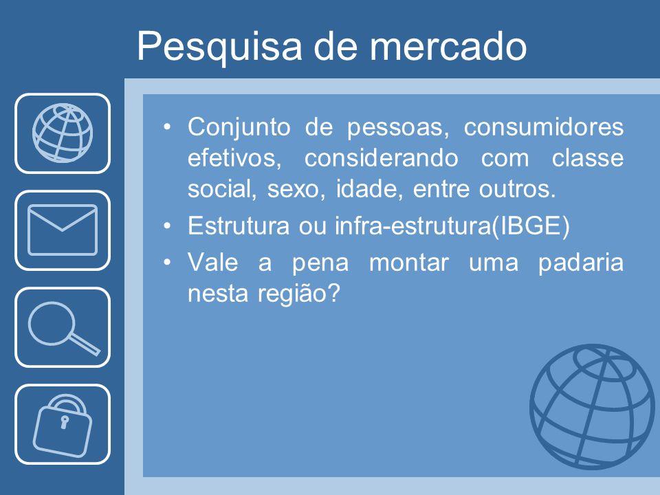 Pesquisa de mercado Conjunto de pessoas, consumidores efetivos, considerando com classe social, sexo, idade, entre outros. Estrutura ou infra-estrutur