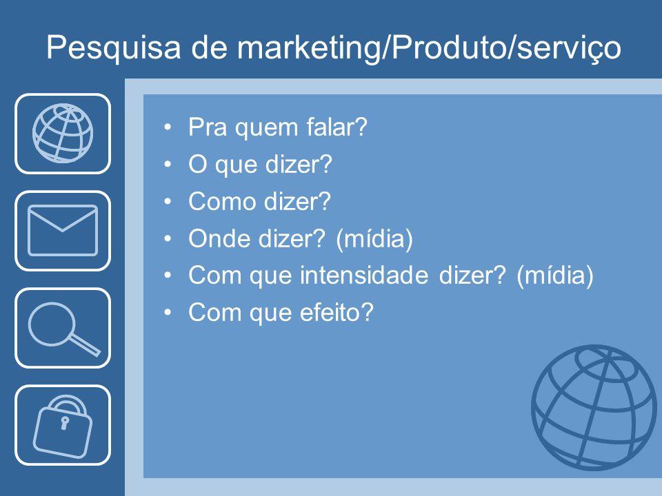 Pesquisa de marketing/Produto/serviço Pra quem falar? O que dizer? Como dizer? Onde dizer? (mídia) Com que intensidade dizer? (mídia) Com que efeito?