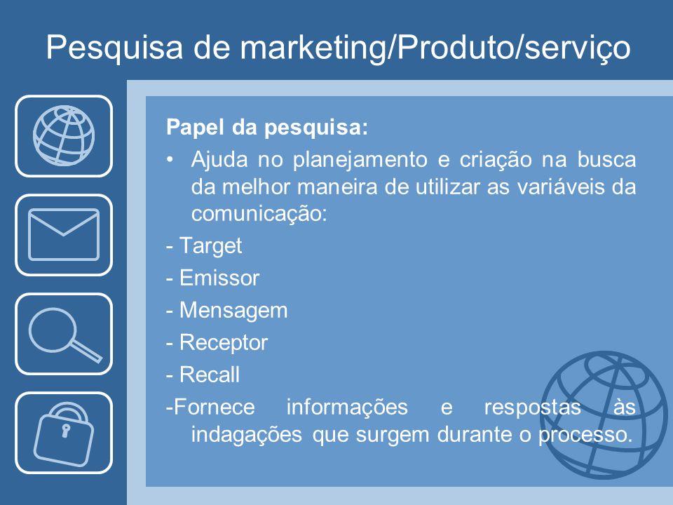 Pesquisa de marketing/Produto/serviço Papel da pesquisa: Ajuda no planejamento e criação na busca da melhor maneira de utilizar as variáveis da comuni