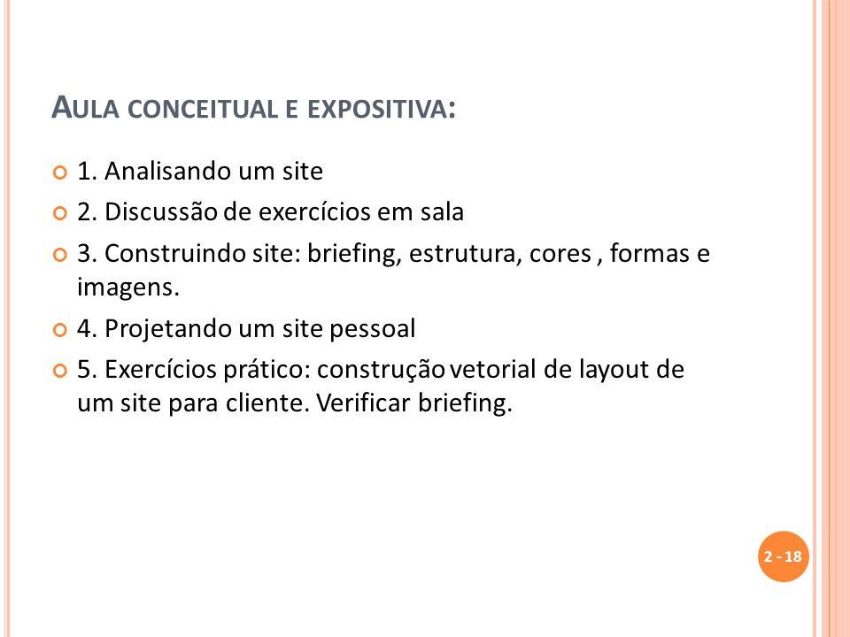 A ULA CONCEITUAL E EXPOSITIVA : 1. Analisando um site 2. Discussão de exercícios em sala 3. Construindo site: briefing, estrutura, cores, formas e ima