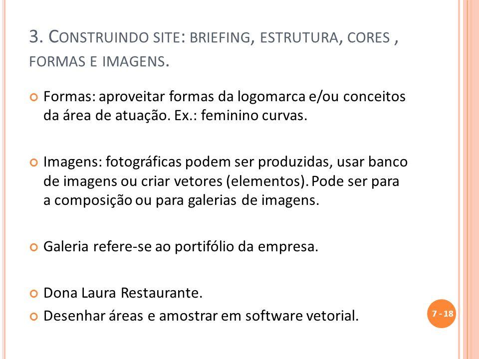 3.C ONSTRUINDO SITE : BRIEFING, ESTRUTURA, CORES, FORMAS E IMAGENS.
