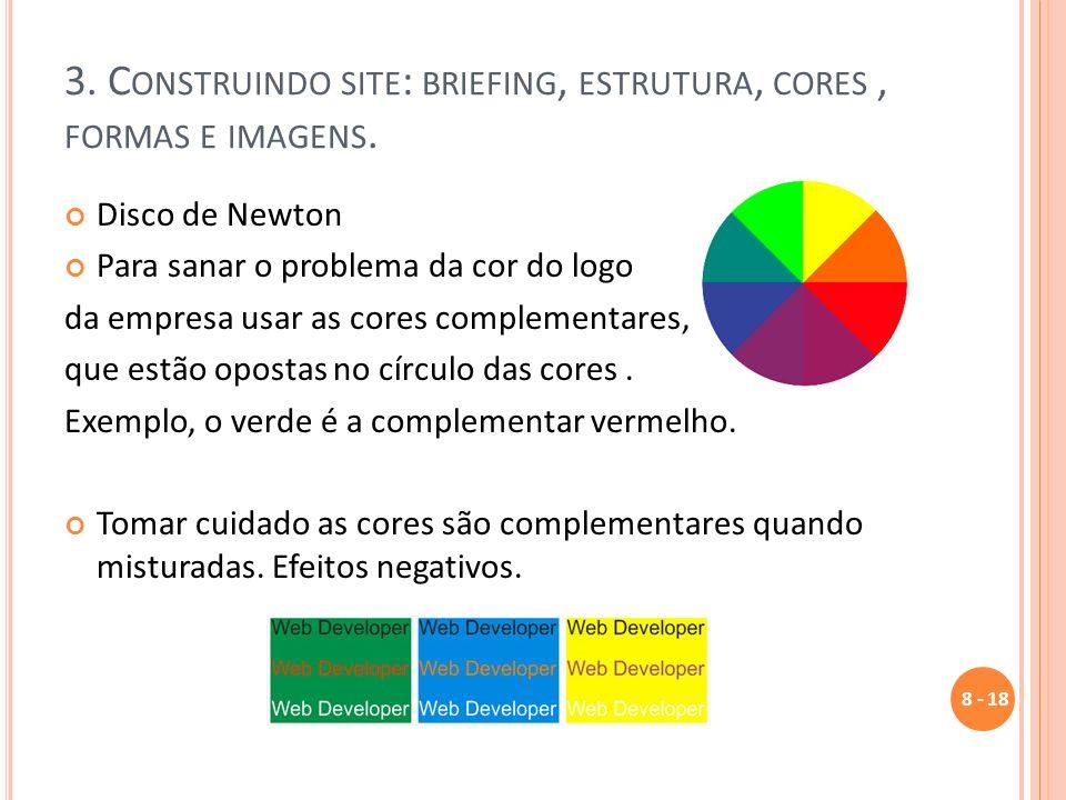 3. C ONSTRUINDO SITE : BRIEFING, ESTRUTURA, CORES, FORMAS E IMAGENS. Disco de Newton Para sanar o problema da cor do logo da empresa usar as cores com