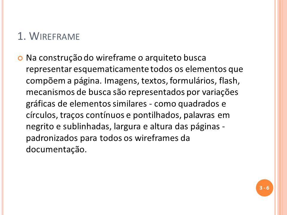 1. W IREFRAME Na construção do wireframe o arquiteto busca representar esquematicamente todos os elementos que compõem a página. Imagens, textos, form